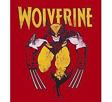Wolverine Retro Comic Maroon Photographic Print