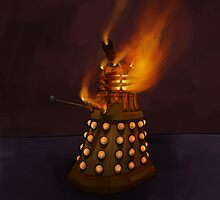 Dr Who Classic Dalek in Flames by astralsid