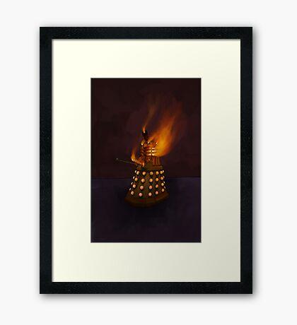 Dr Who Classic Dalek in Flames Framed Print
