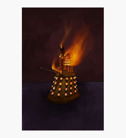 Dr Who Classic Dalek in Flames Photographic Print
