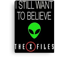 X-File Still Want To Believe Alien Head Canvas Print