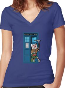 Adventure Time Lord Generation 10 - TARDIS Women's Fitted V-Neck T-Shirt