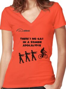 Cycling T Shirt - There's No Gas in a Zombie Apocalypse Women's Fitted V-Neck T-Shirt