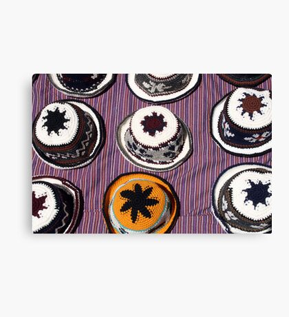 Knit Hats on a Blanket Canvas Print