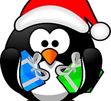 Christmas Penguin with Gift Boxes by boogeyman