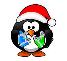 Christmas Penguin with Gift Boxes Photographic Print