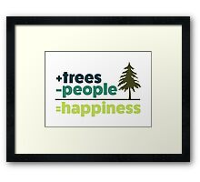 Earth Day Design +trees -people =happiness Framed Print