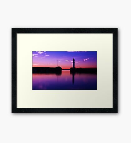 Newhaven harbour sunset Framed Print