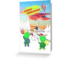 Merry Christmas from the Green Alien Children 2 Greeting Card