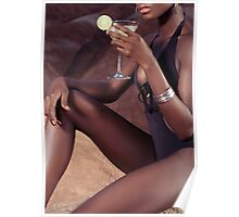 Sexy black woman with cocktail glass art photo print Poster