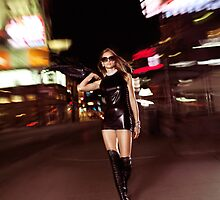 Attractive Young Woman Walking Down the Street at Night art photo print by ArtNudePhotos