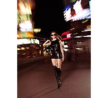 Attractive Young Woman Walking Down the Street at Night art photo print Photographic Print