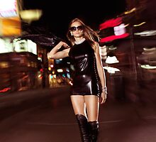 Attractive Young Party Woman Walking Down the Street at Night art photo print by ArtNudePhotos