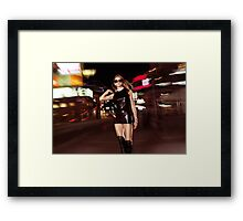 Attractive Young Party Woman Walking Down the Street at Night art photo print Framed Print