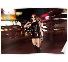 Attractive Young Party Woman Walking Down the Street at Night art photo print Poster