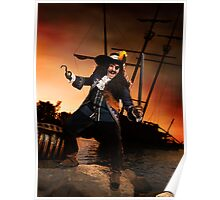 Pirate with a Treasure Chest art photo print Poster