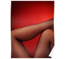 Sexy woman legs in fishnet stockings on red art photo print Poster
