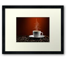 Christmas Tree Steam Coming from a Cup of Coffe art photo print Framed Print