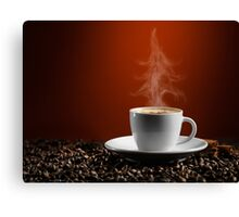 Christmas Tree Steam Coming from a Cup of Coffe art photo print Canvas Print