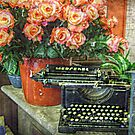 Antique Mercedes Typewriter and Roses by Jane Neill-Hancock