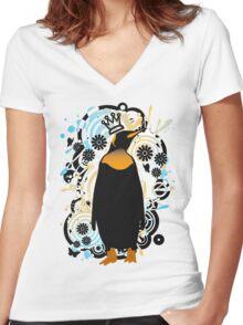 P for Penguin Women's Fitted V-Neck T-Shirt