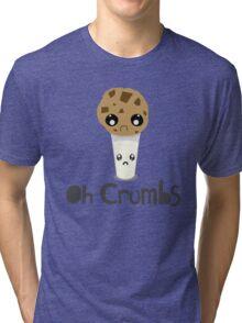 """Oh Crumbs"" - Kawaii Cookie & Milk Tri-blend T-Shirt"