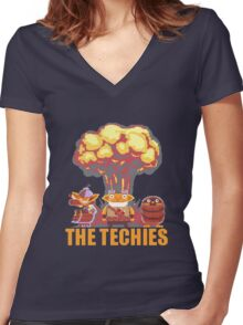Techies Pixelated Women's Fitted V-Neck T-Shirt