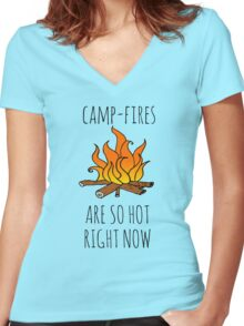 Camp-Fires are SO Hot Right Now Women's Fitted V-Neck T-Shirt