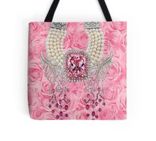 Barbie Pink Diamond Rose Pearls Print Tote Bag