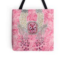 Barbie Pink Diamond Rose Pearls Print Tote Bag