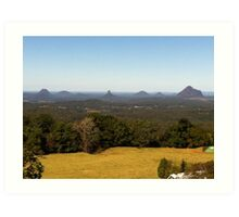 Glass House Mountains from Montville Art Print