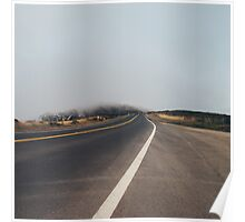 Car Driving on Foggy Road Poster