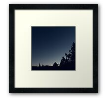 Night Sky With Moon Crescent Framed Print