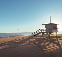 Lifeguard Cabin at Sundown by visualspectrum