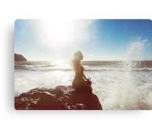 Young Woman Meditating by the Sea Canvas Print