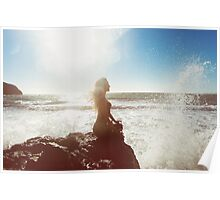 Young Woman Meditating by the Sea Poster