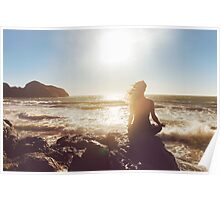 Pretty Woman Meditating by the Ocean Poster