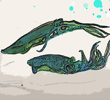 squids at sea by Martin Mulherin