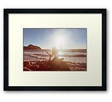 Young Woman Doing Beach Yoga Framed Print