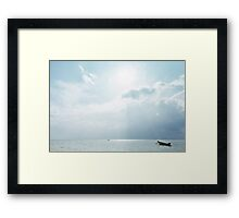 Two Empty Fishing Boats on Open Water Framed Print