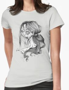 Shut Your Mouth Zombie (White) Womens Fitted T-Shirt