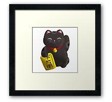 Lucky Cat Black Framed Print