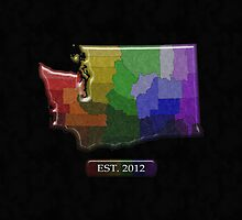 Washington Rainbow Map - LGBT Equality by LiveLoudGraphic