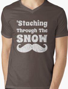 Staching Through The Snow Funny Christmas Design Mens V-Neck T-Shirt