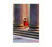 Girl in red coat in winter  Art Print