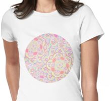 Candyfloss Colored Doodle Pattern Womens Fitted T-Shirt