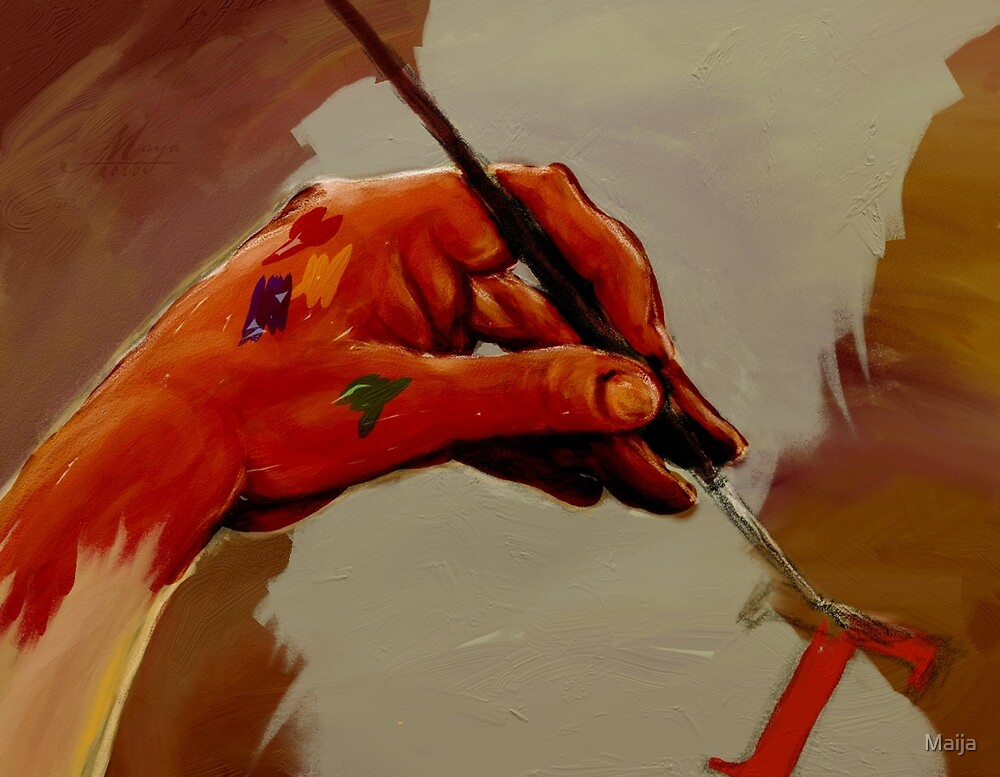 Hand Painted Painted Hand Painting Traditional Painting  by Maija