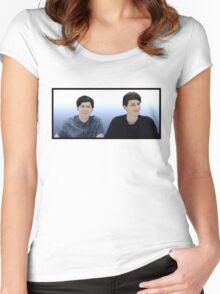 Dan & Phil  Blue gradient  Women's Fitted Scoop T-Shirt