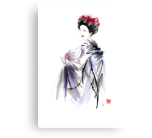 Geisha Japanese woman in Tokyo fresh flowers kimono original Japan painting art Canvas Print