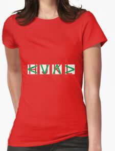 HJKL (Green Arrows + Text Transparency) Womens Fitted T-Shirt
